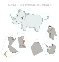 Puzzle game for children rhino vector