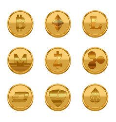 realistic detailed 3d golden cryptocurrency icons vector image