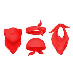 Red bandana realistic 3d headbands ways to wear vector