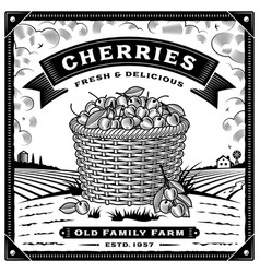 retro cherry harvest label with landscape black vector image