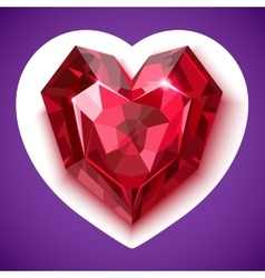 Ruby red angular heart icon vector