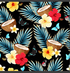 Seamless pattern with fruits and flowers vector