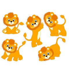 set cute cartoon lions vector image