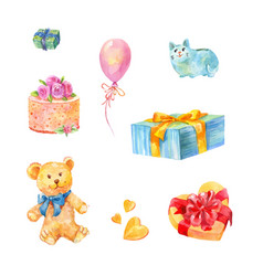Set of birthday gifts teddy bear cake piggy vector
