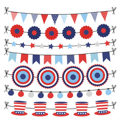 Set of bunting paper flags garlands party vector