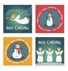 Set of christmas cards with angels and snowmen vector