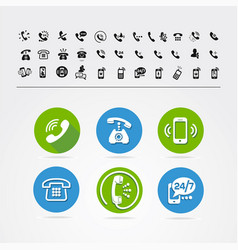 Set of different icons with phone vector