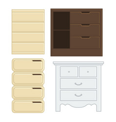 set of drawer and cabinet for interior household vector image