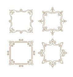 Set of outline emblems line frame vector image