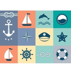 Set of sea and nautical labels badges vector
