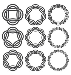 Set of vintage knotting rings Nine circular vector