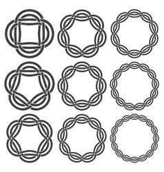 Set of vintage knotting rings nine circular vector