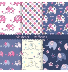 Set seamless patterns with elephants vector