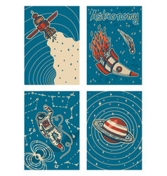Set vintage space banners galaxy poster vector