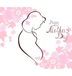 Silhouette of expectant mother with text for happy vector