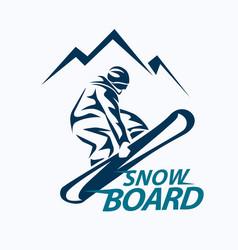 snowboarding stylized symbol silhouette logo vector image
