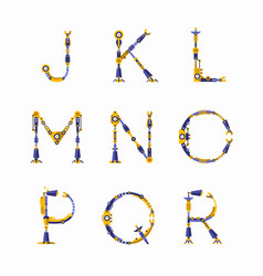 technical robot font letters from j to r vector image