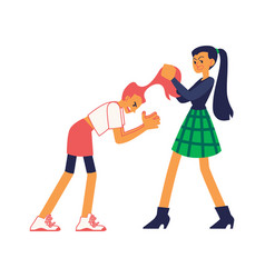 Teen girls fight pull each other hair out vector
