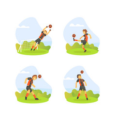 teenager boys playing football outdoors set vector image