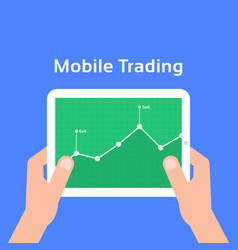 trading charts in mobile tablet vector image