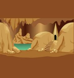 Underground cave landscape scene for cartoon vector