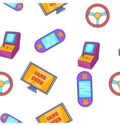 Video game pattern cartoon style vector