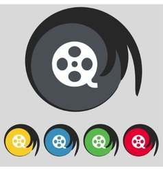 Video sign icon frame symbol Set colourful buttons vector image