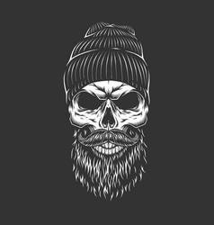 Vintage monochrome lumberjack skull vector
