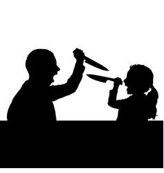 violence against children silhouette black vector image vector image