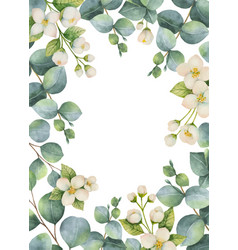 watercolor green floral card vector image