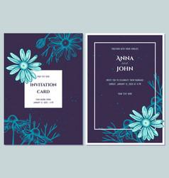 Wedding invitation card with blue chamomile vector