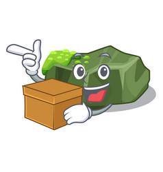 With box cartoon moss grow on sea rock vector