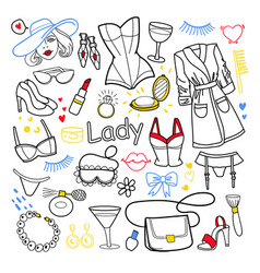 Woman beauty fashion hand drawn set clothes vector