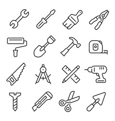 work tool line art icon industrial instrument vector image
