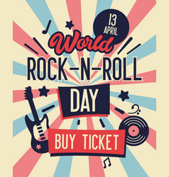 World rock and roll day typography banner vector