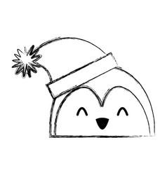 christmas penguin face cartoon vector image vector image