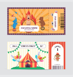 circus ticket design template amazing show with vector image