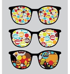 Retro sunglasses with bright reflection in it vector
