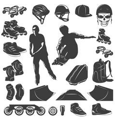 roller skater black white icons set vector image vector image