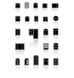set black windows with reflection vector image vector image