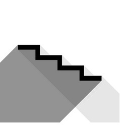 stair down sign black icon with two flat vector image vector image