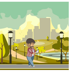 man walking using gadget vector image