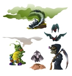 Skunk bat witch insect and mole for Halloween vector image vector image