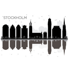 stockholm city skyline black and white silhouette vector image