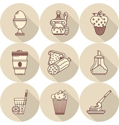 Tasty food flat line icons vector image vector image