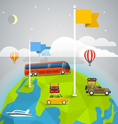 World map with color flags and transport Design vector image
