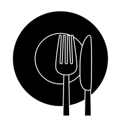 Contour knife fork and plate icon vector