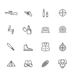 hunting activity line icons vector image