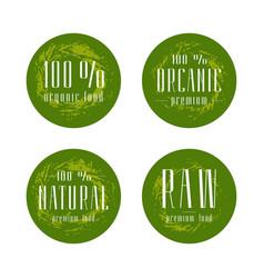 natural organic food labels design vector image vector image
