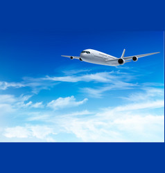 airplane fly in the in a blue cloudy sky travel vector image vector image